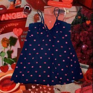 Lip Print Skater Dress